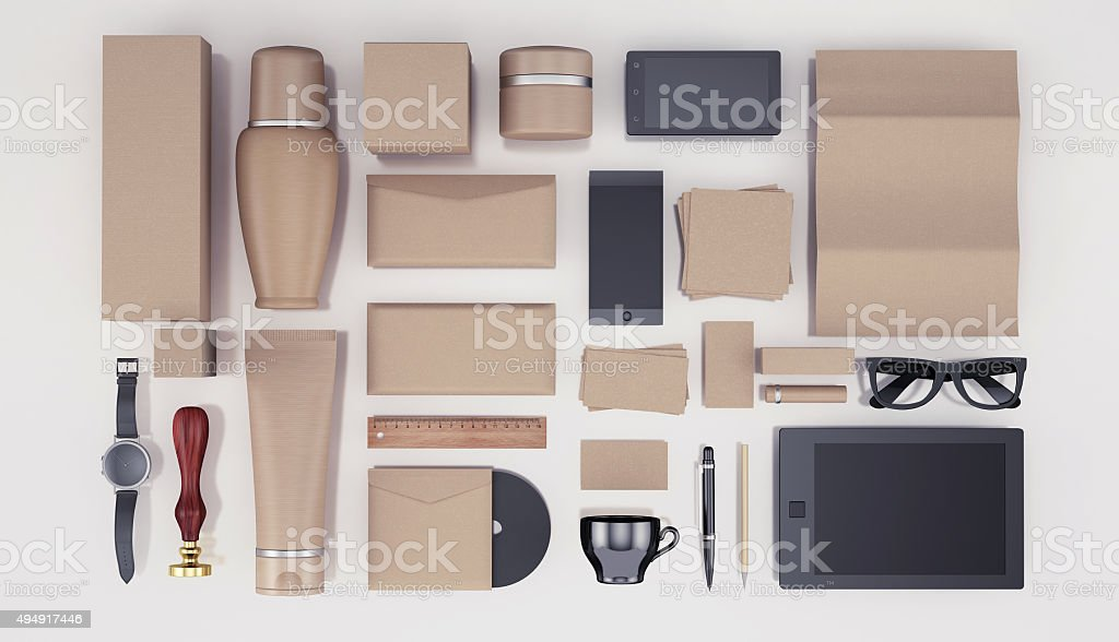 Blank Cosmetics Bottles and identity template stock photo