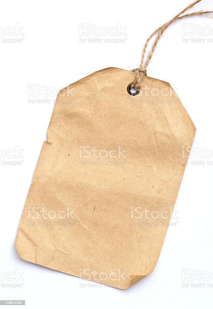 Blank creased parcel tag on white background stock photo