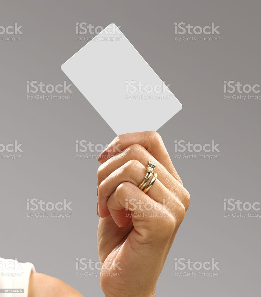 Blank Credit Card in Woman's Hand stock photo
