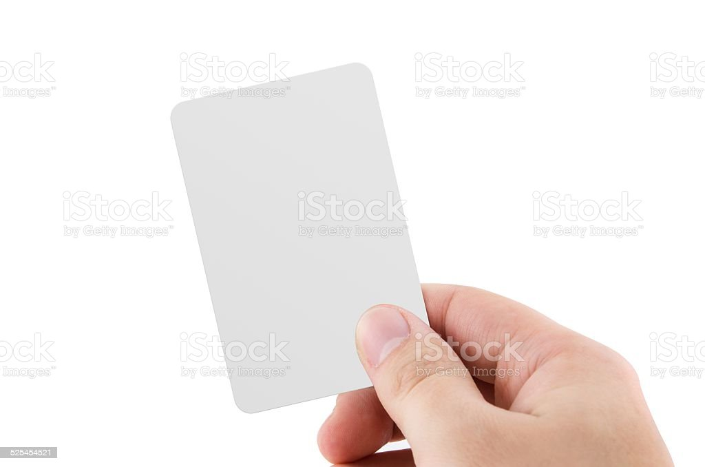 Blank credit card or business card isolated on white background stock photo
