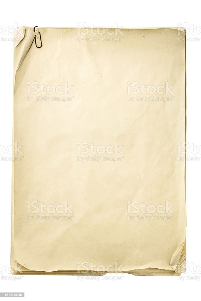 Blank crinkly beige paper with paper clip stock photo