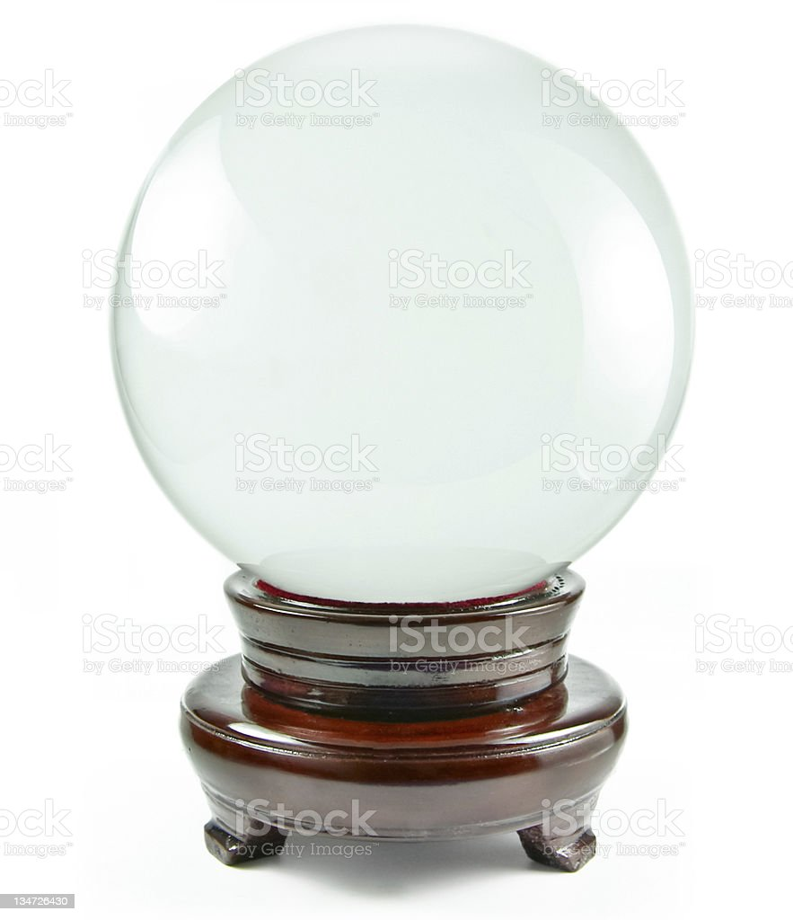 Blank crystal ball against white background stock photo