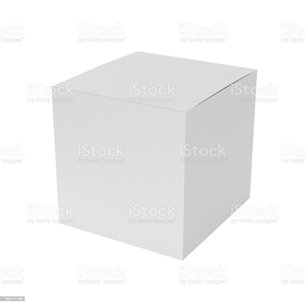 3D blank cube on white background royalty-free stock photo