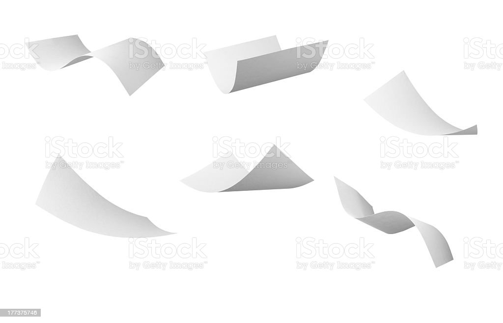 blank curl paper flying in wind stock photo