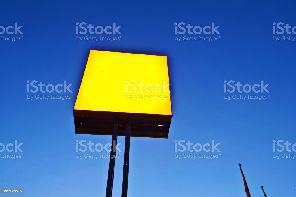 Blank Customizable Yellow Advertisement Board stock photo