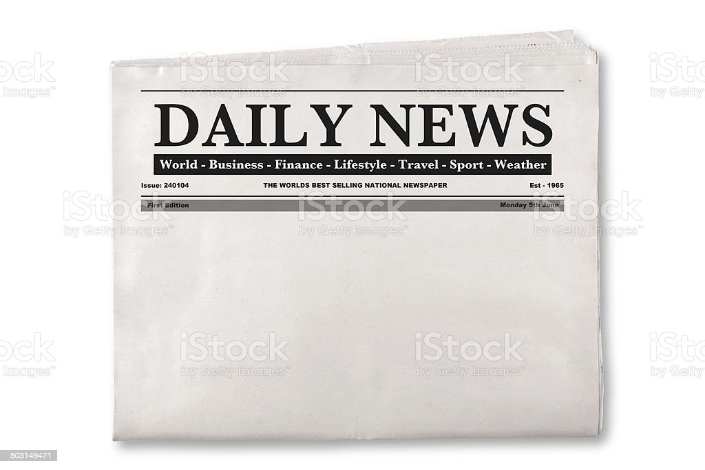 Blank Daily Newspaper stock photo