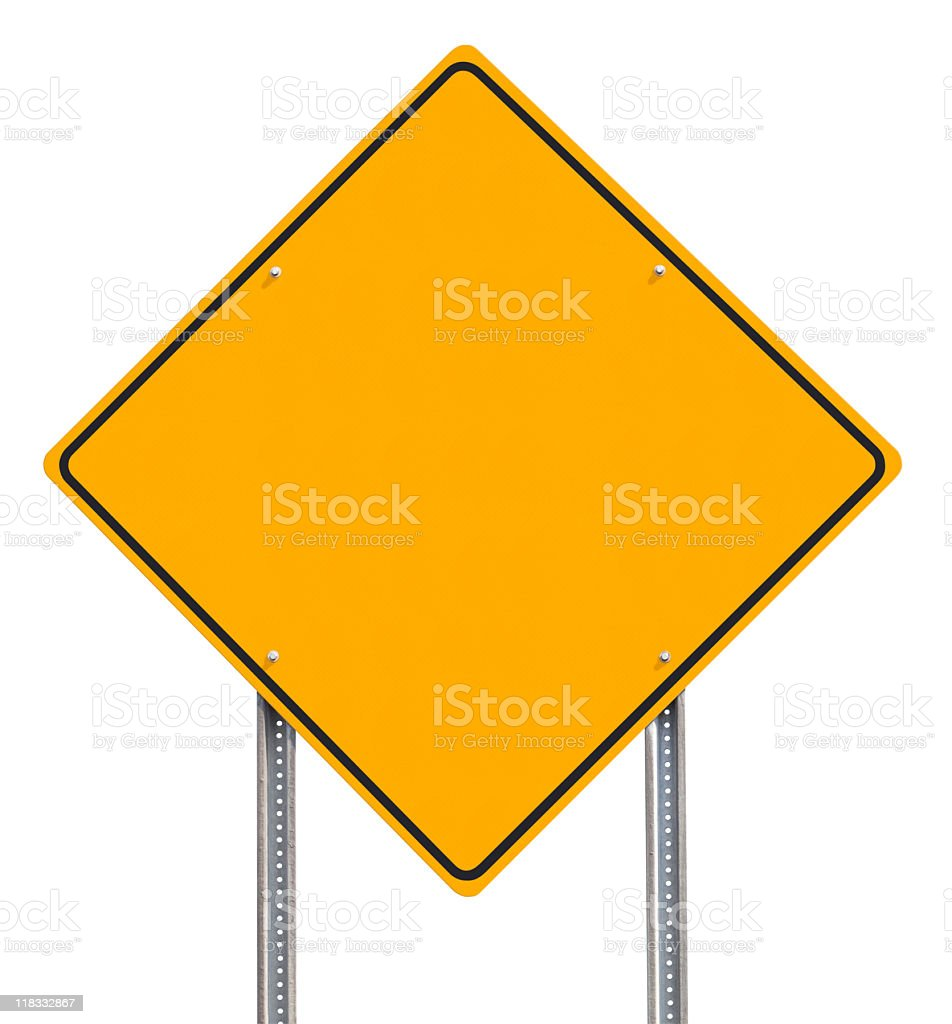 Blank Diamond-shaped Yellow Information Traffic Sign Isolated on White stock photo