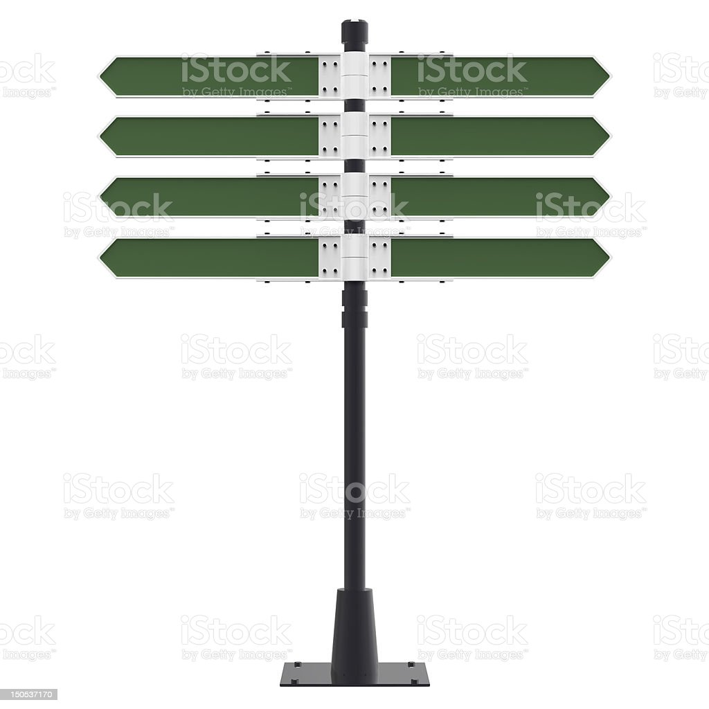 Blank direction sign with 8 arrows. royalty-free stock photo