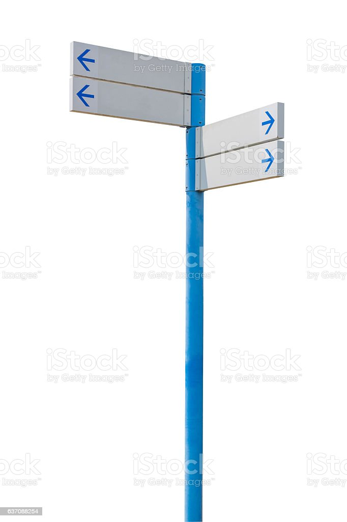 Blank direction white signpost isolated on white background. stock photo
