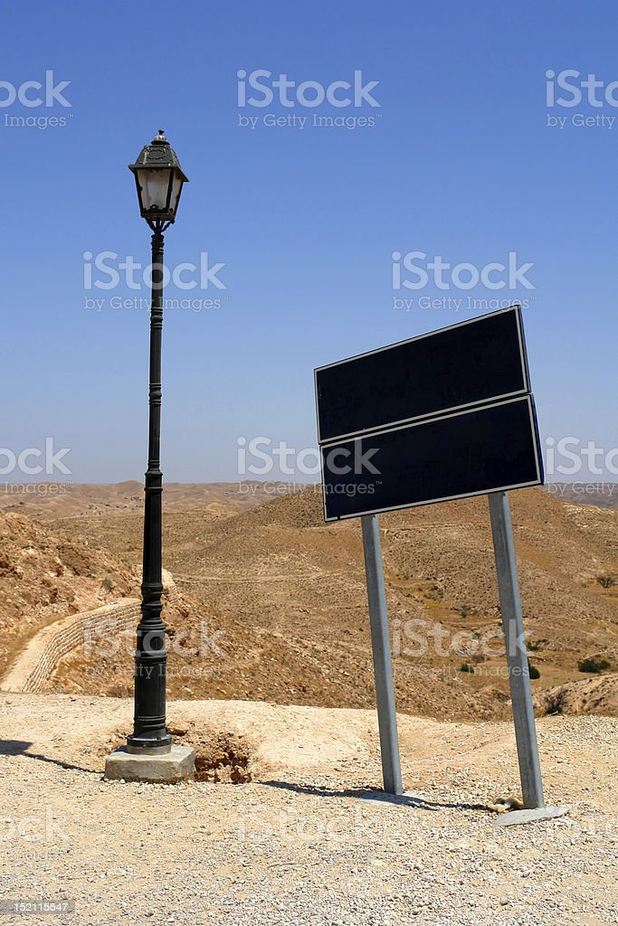 Blank Directional Sign In A Desert stock photo