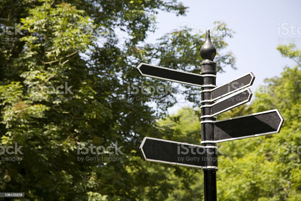Blank Directional sign posts. royalty-free stock photo