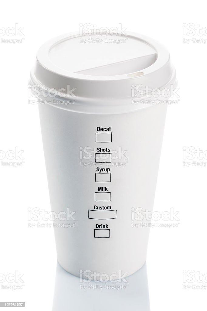 Blank disposable coffee cup on a white background stock photo