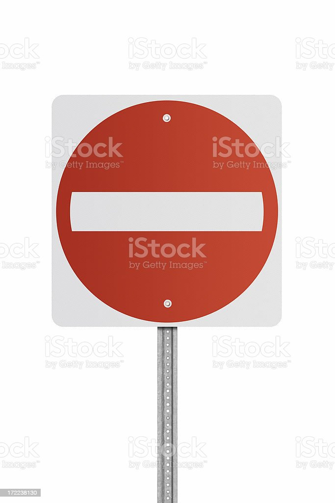 Blank Do Not Enter Road Sign stock photo