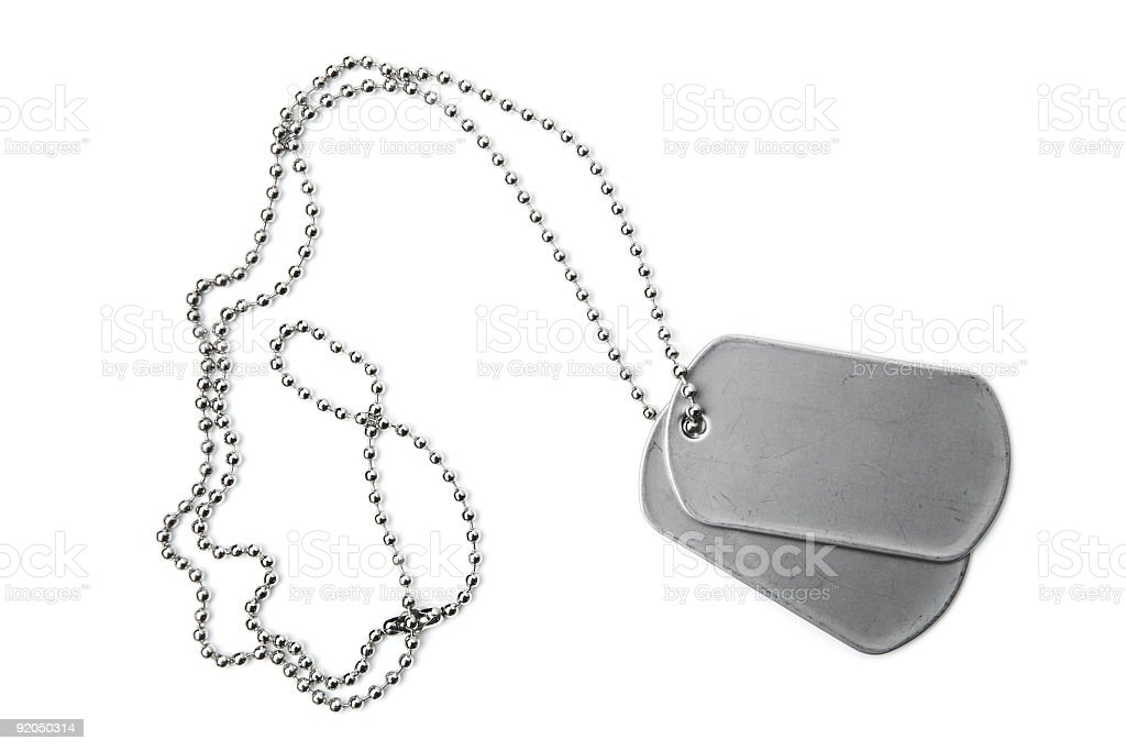 Blank dogtags and ball chain on white background royalty-free stock photo