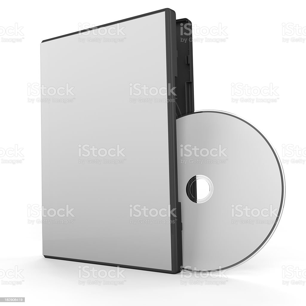 Blank DVD Box & Disk stock photo