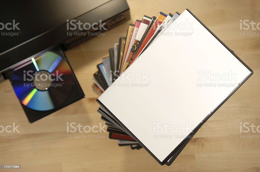 blank dvd case on player stock photo