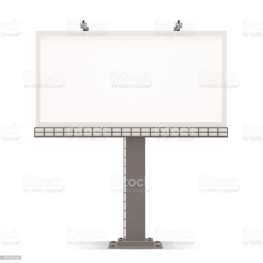 Blank Empty Billboard isolated on white background stock photo