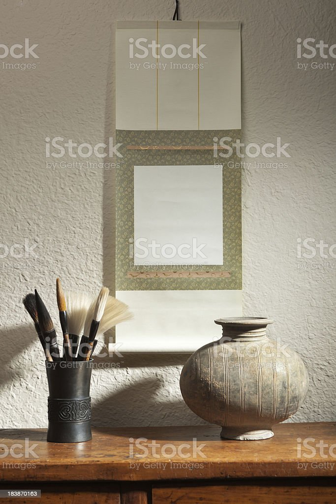 Blank Empty Chinese Scroll Painting with Brushes for Advertising Sign stock photo