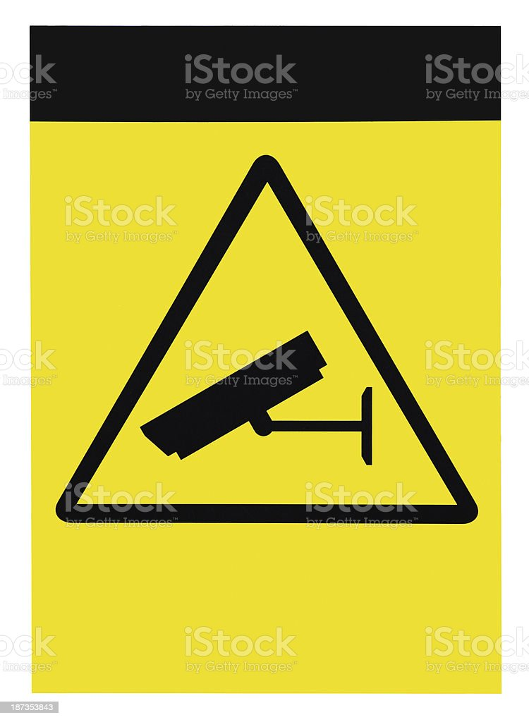 Blank empty protected by video surveillance sign, customizable, isolated macro stock photo