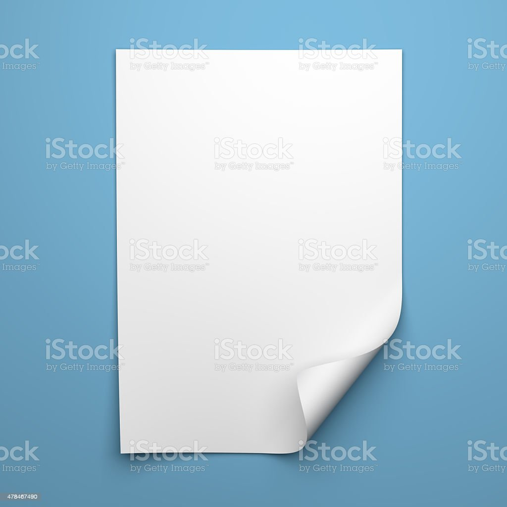 Blank empty sheet of white paper with curled corner stock photo