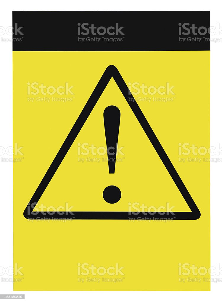 Blank empty yellow black triangle caution danger warning sign, isolated stock photo