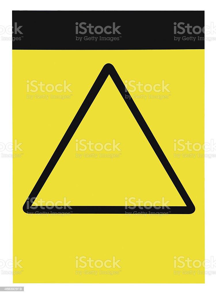 Blank empty yellow black triangle general caution warning attention sign stock photo
