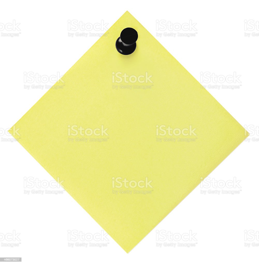 Blank Empty Yellow Post-It Sticky Note Sticker Isolated To-Do List stock photo