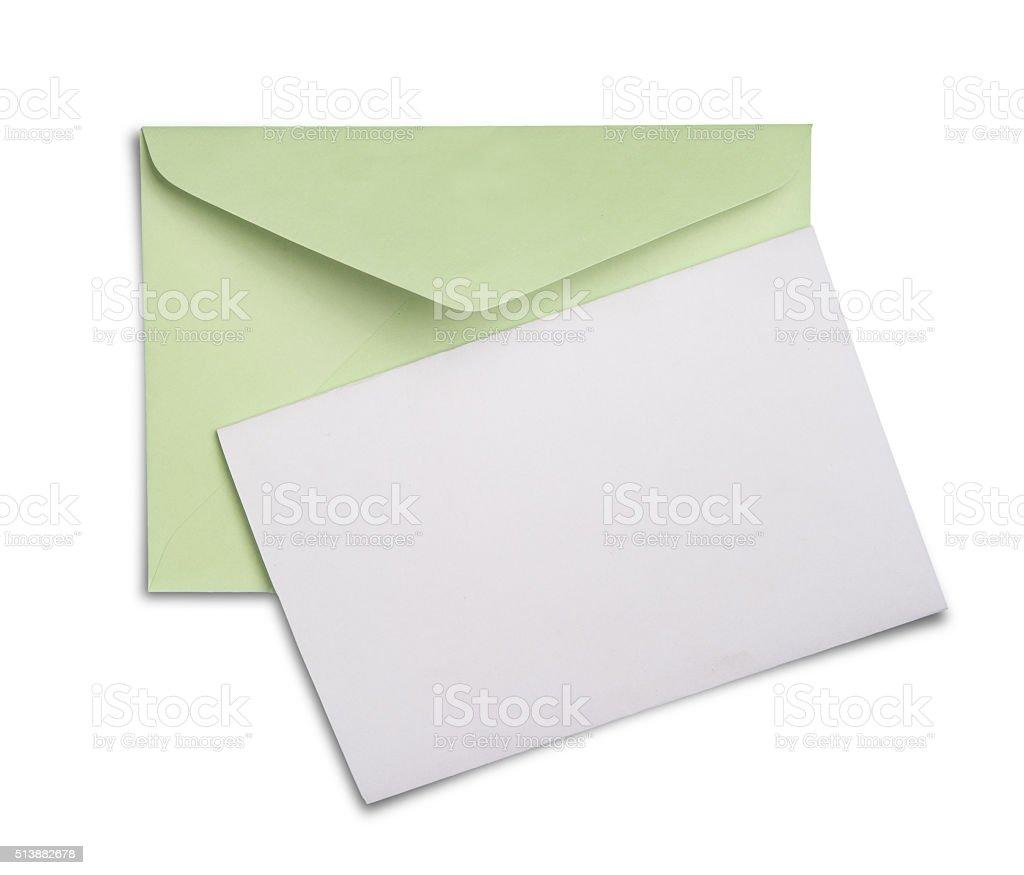 Blank envelope isolated on white background stock photo