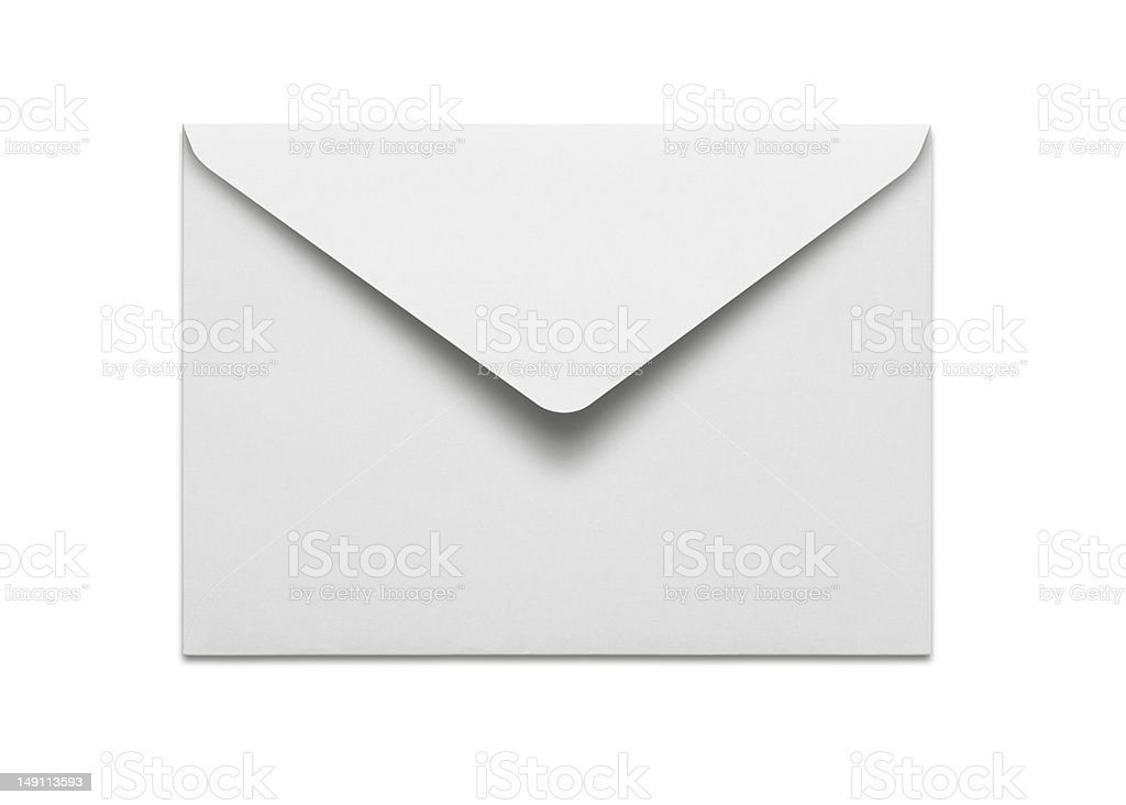 Blank envelope with clipping path on white background stock photo