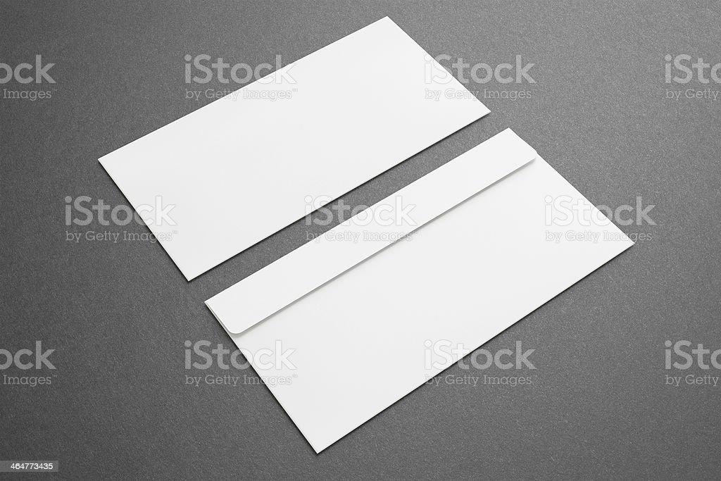 Blank envelopes on dark background stock photo