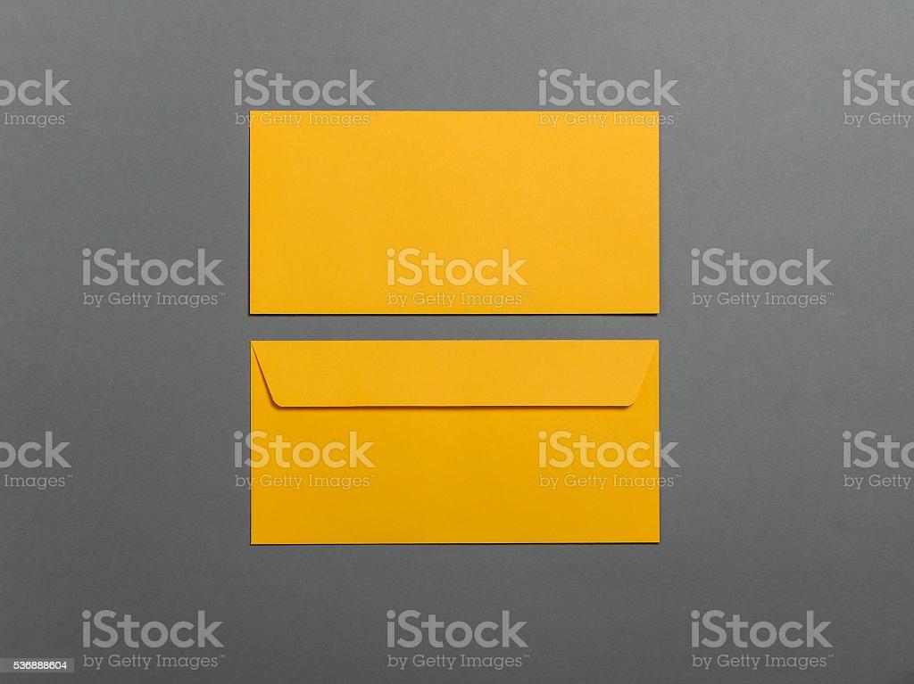 Blank envelopes on grey stock photo