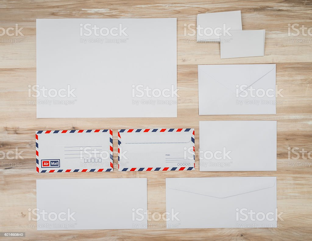 Blank envelopes on  wooden background stock photo