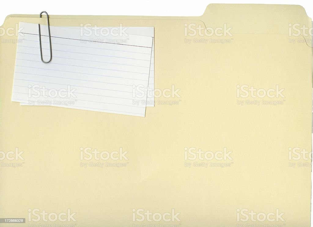 Blank File Folder and Index Cards stock photo