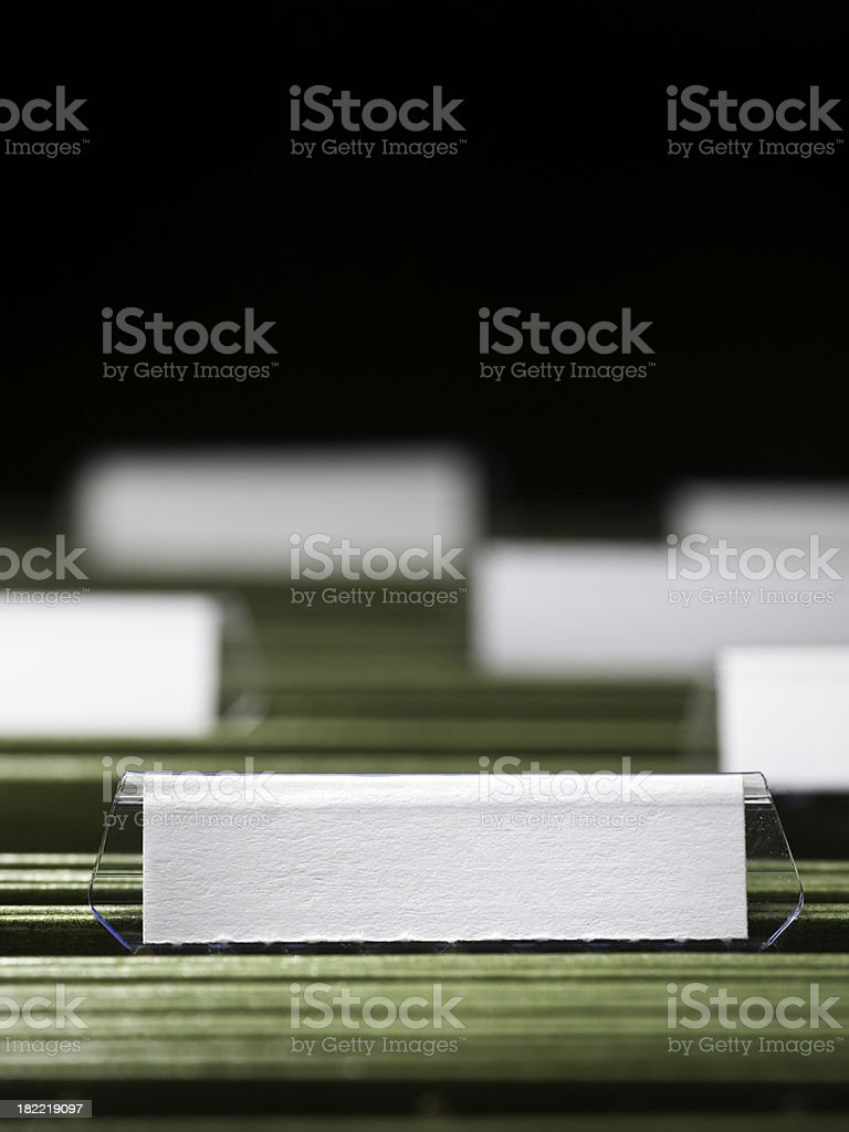 Blank file in a filing cabinet royalty-free stock photo