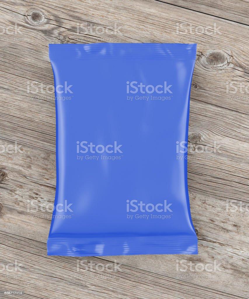 Blank foil snack pillow bag stock photo