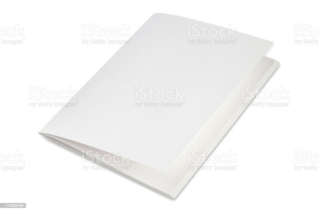 Blank folded brochure on a white background stock photo