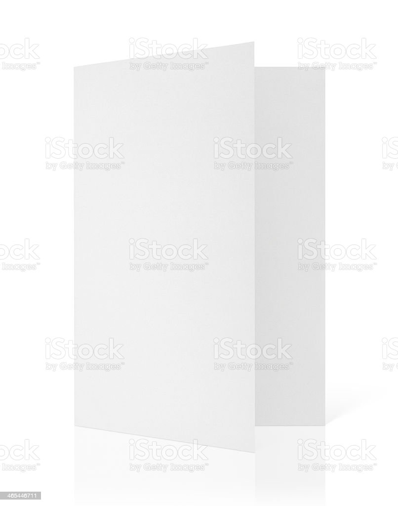 Blank folded flyer on white stock photo