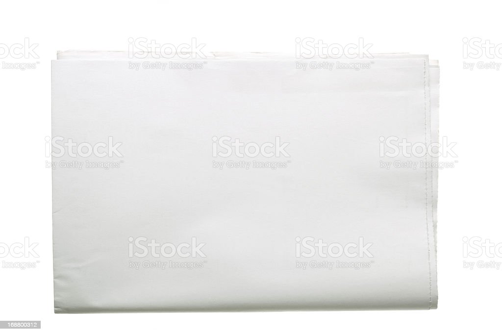 Blank folded rectangular newspaper stock photo