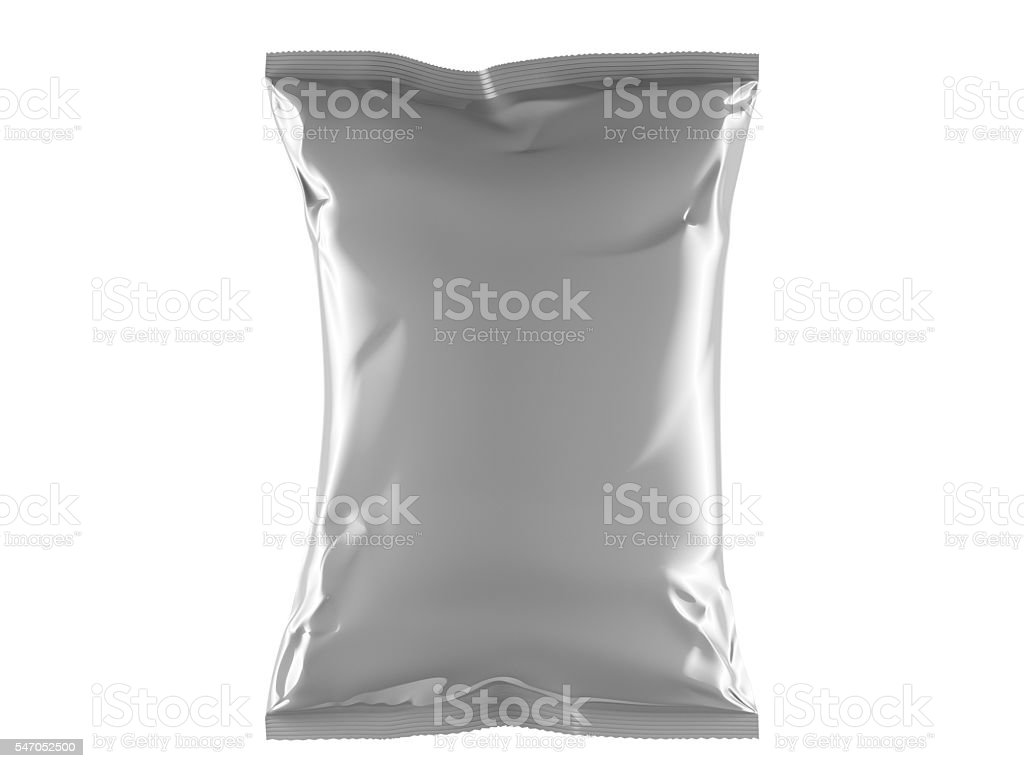 Blank Food Bag Chips Container Front View on White Background stock photo