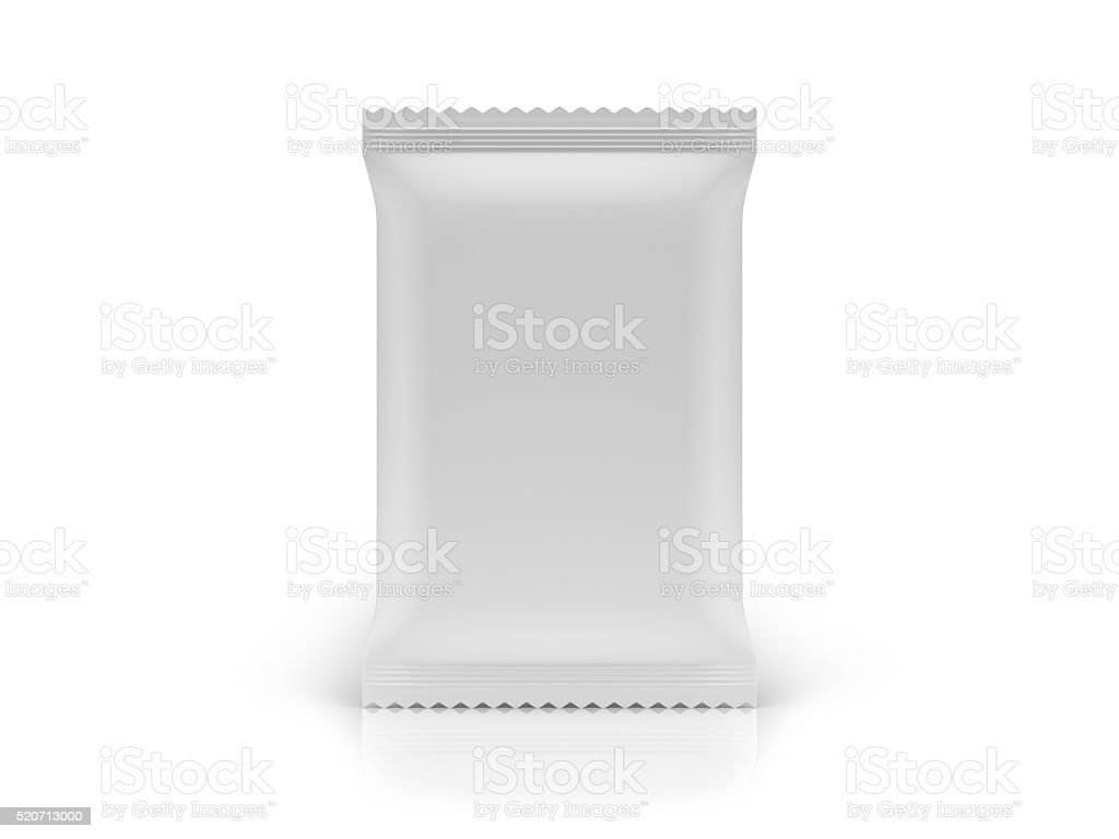 Blank Food Bag Package Front View on White Background stock photo