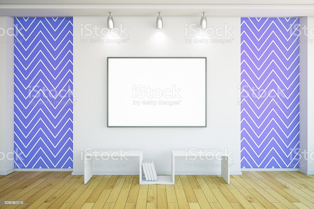 Blank frame in blue room stock photo