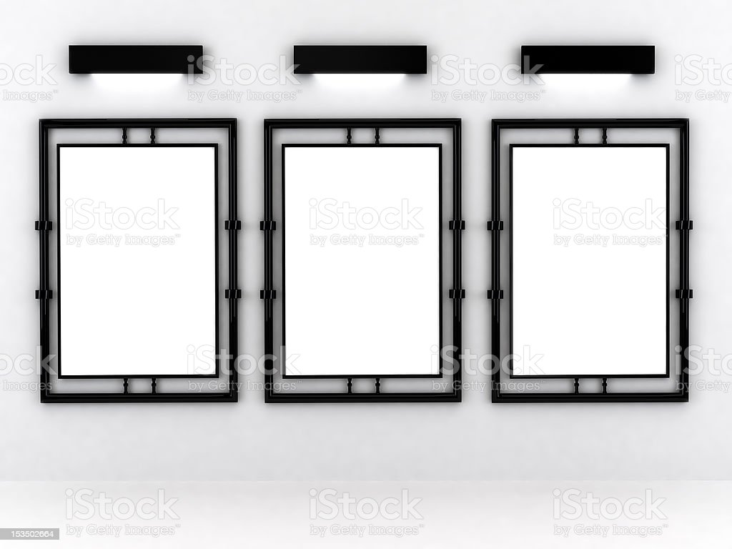 Blank frame in gallery royalty-free stock photo