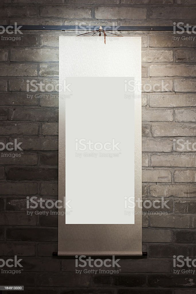 Blank frame of Chinese Painting on the wall royalty-free stock photo