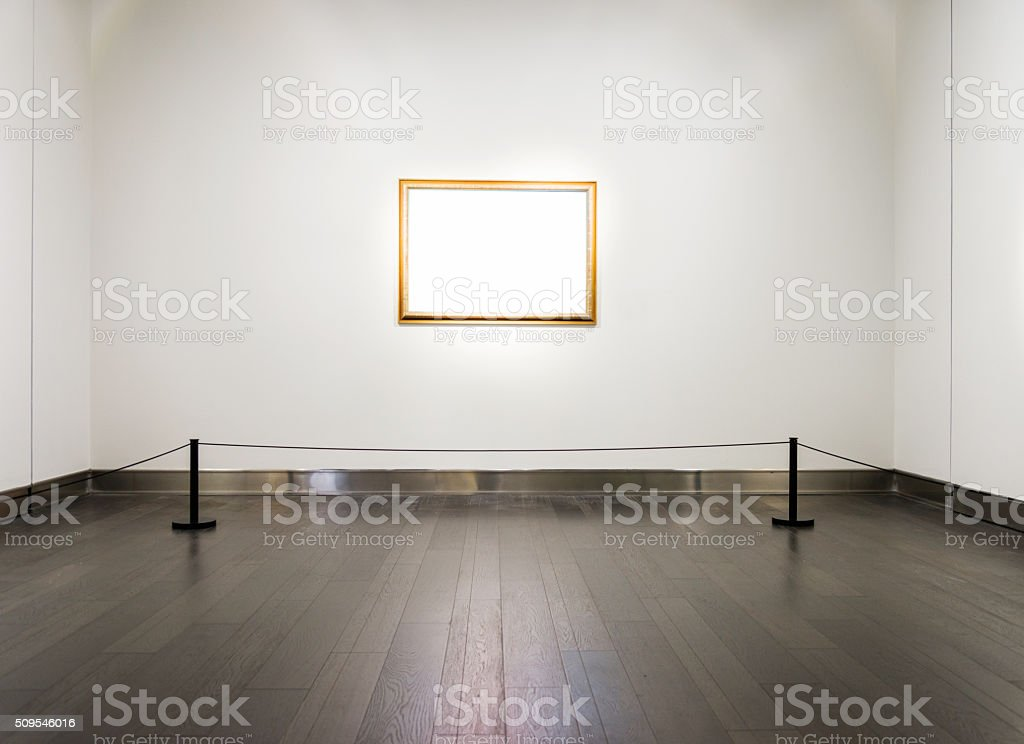 Blank frame on wall stock photo