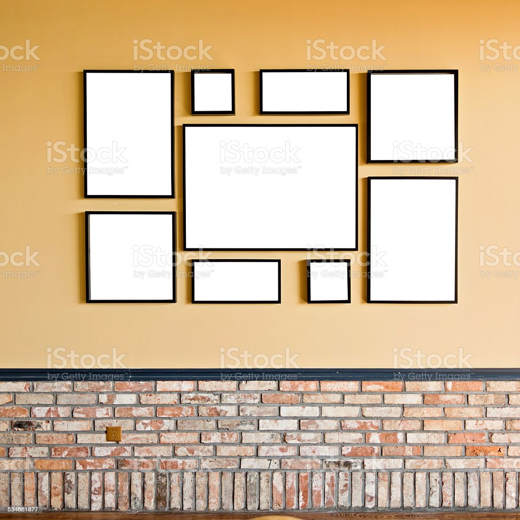 blank frames on the wall stock photo
