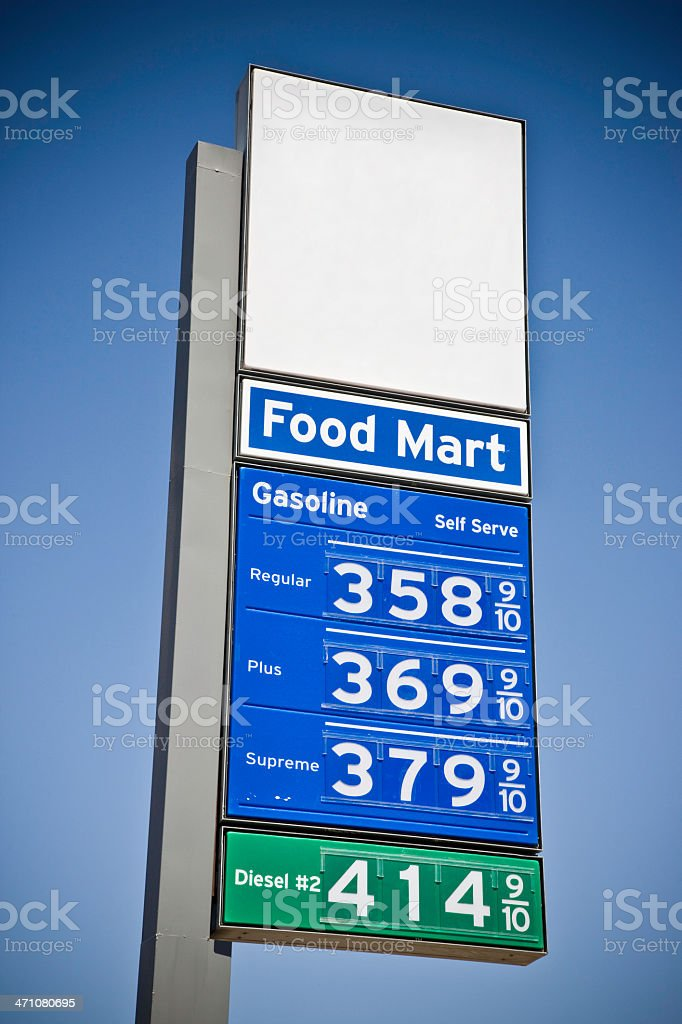 Blank Gas Price Road Sign stock photo