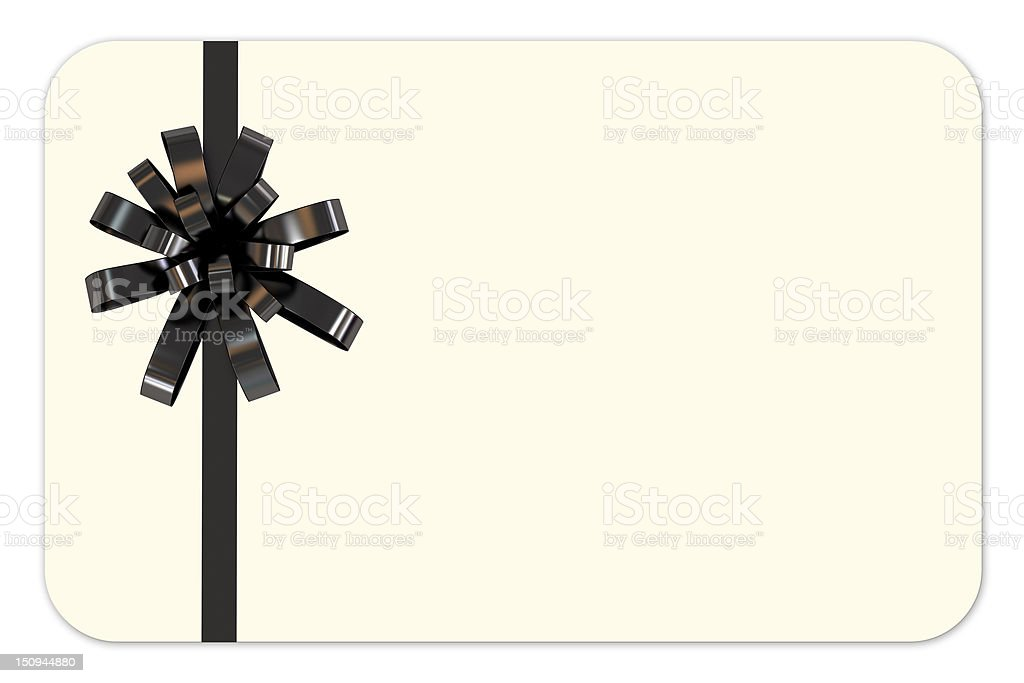 Blank Gift Card with Black Ribbon royalty-free stock photo