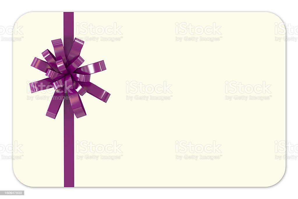 Blank Gift Card with Purple Ribbon royalty-free stock photo