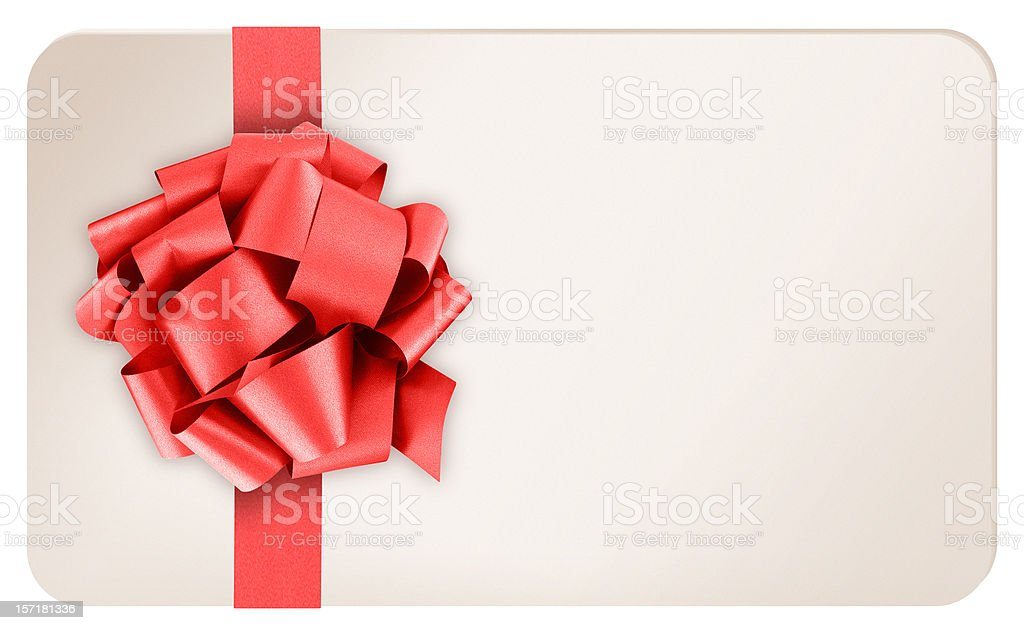 Blank Gift Card with Red Ribbon Bow on White Background stock photo