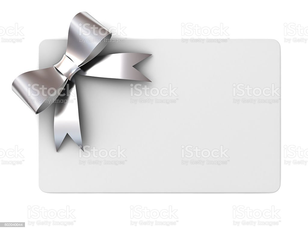 Blank gift card with silver ribbon bow stock photo